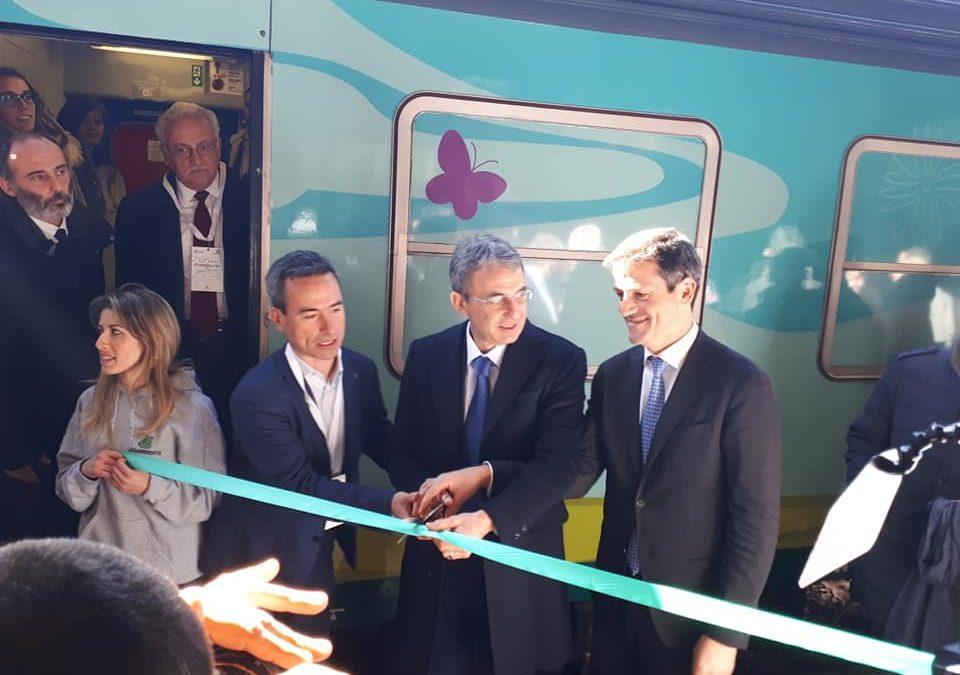 Mobilità sostenibile, con il ministro Costa a bordo del Treno Verde di Legambiente